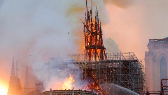 Notre Dame cathedral in Paris burns