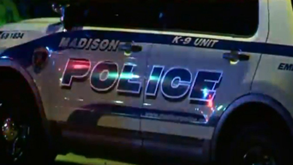 Madison police squad car at night