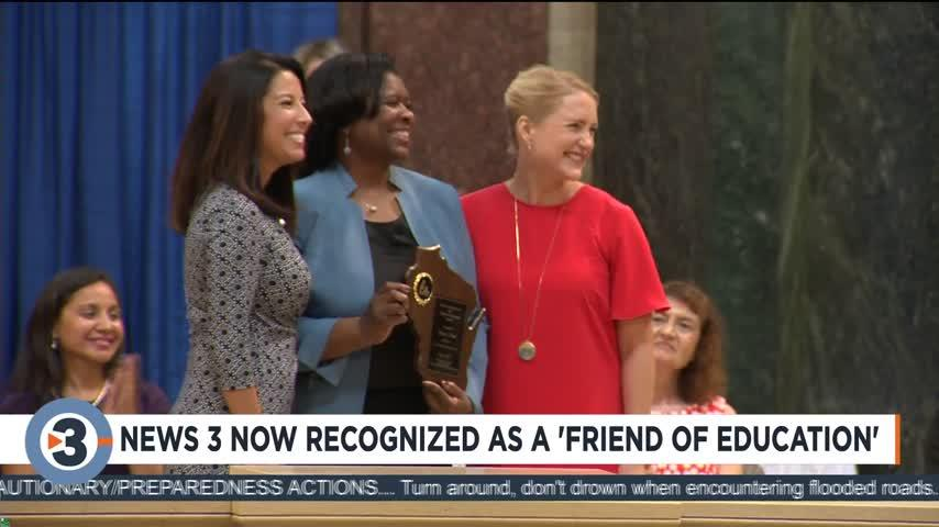 """News 3 Now recognized as a """"Friend of Education"""""""