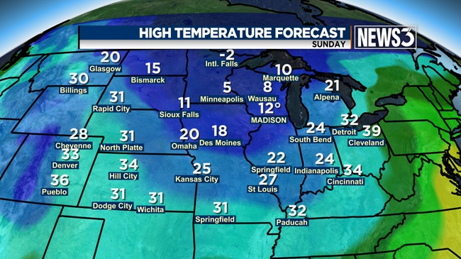 Wintry mix possible rest of week; Season's coldest temps expected next week