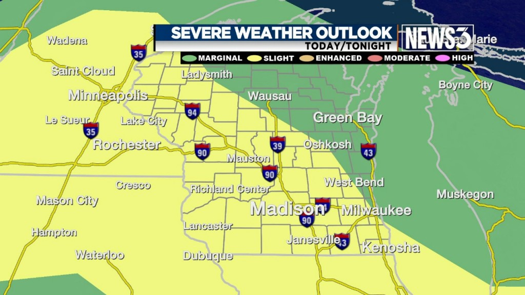 Chance of severe thunderstorms in Southern Wis. Thursday