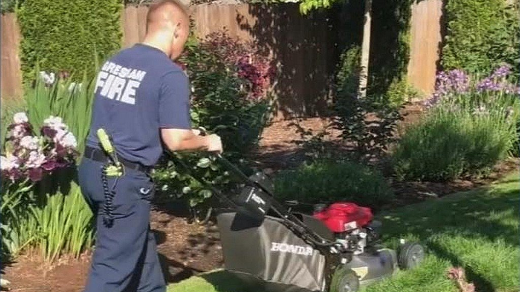 Man collapses mowing lawn, firefighters finish job