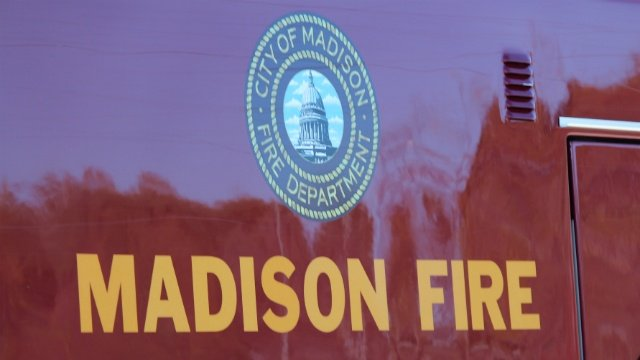 Madison fire on side of the firetruck