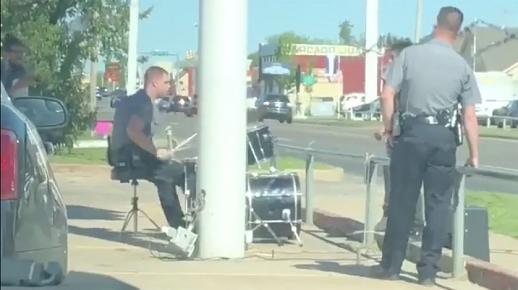 Officer plays drums after responding to noise complaint
