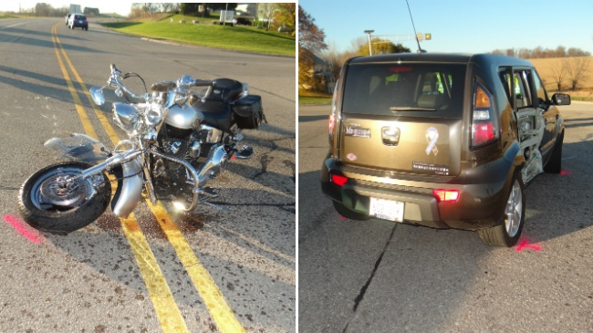 Motorcycle driver suffers 'severe' injuries in crash, officials say
