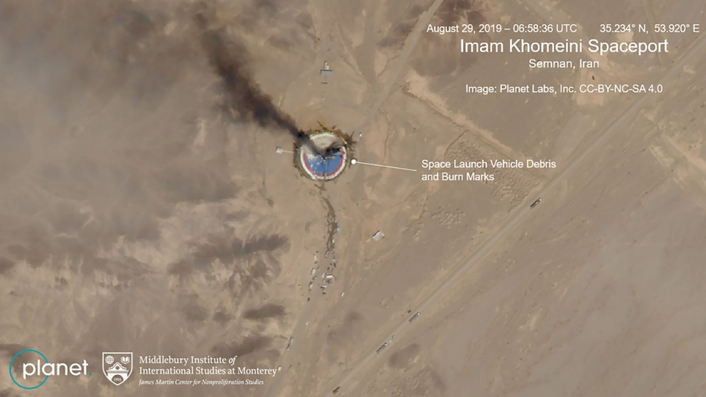 Iranian rocket explodes on launch pad