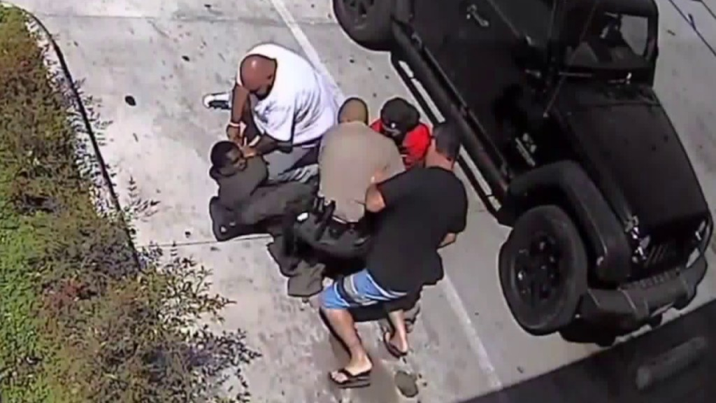 Good Samaritans rush to help deputy as he struggles with suspect