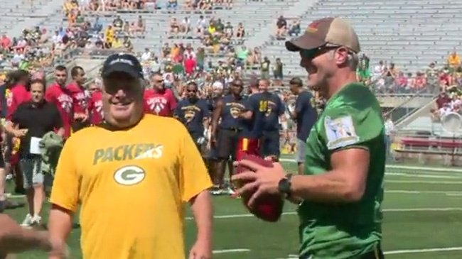 PHOTOS: Favre plays charity flag football game at Camp Randall