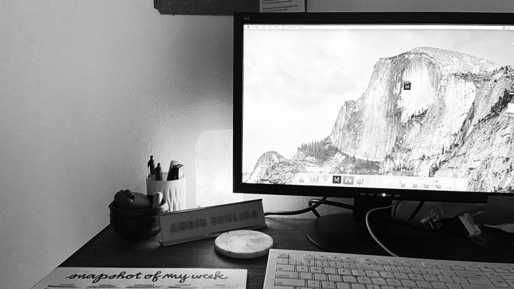 Black and white work from home desk
