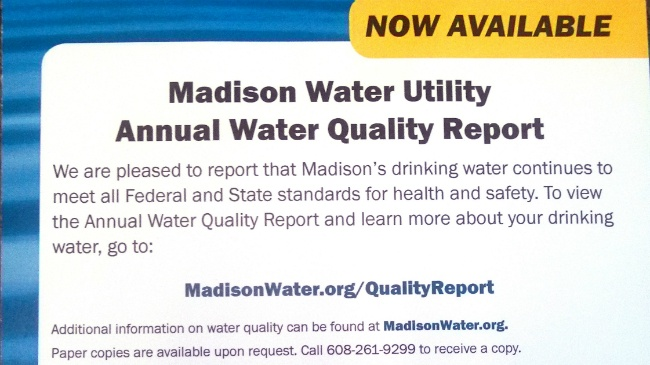 Madison water quality report available for MWU customers