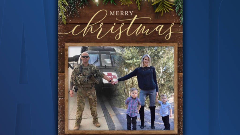 Military wife edits Christmas card to include husband serving overseas