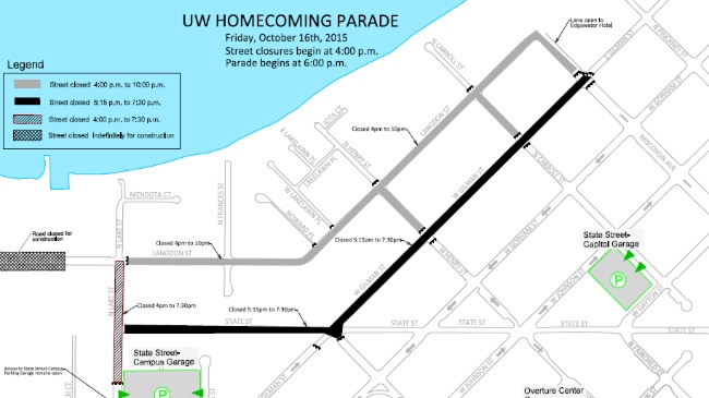 UW Homecoming parade will close downtown streets Friday
