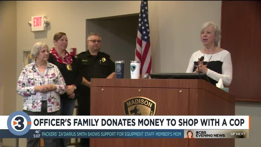 Officer's family donates money to Shop With a Cop