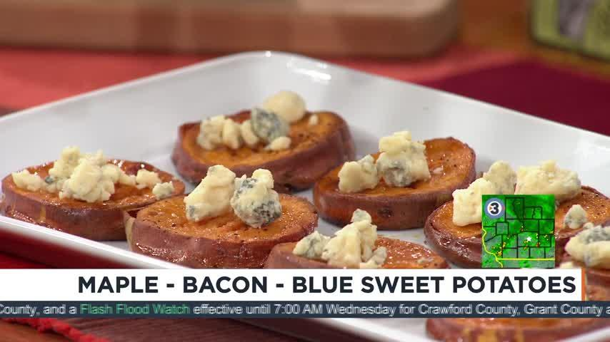 How to make maple-bacon-blue sweet potatoes