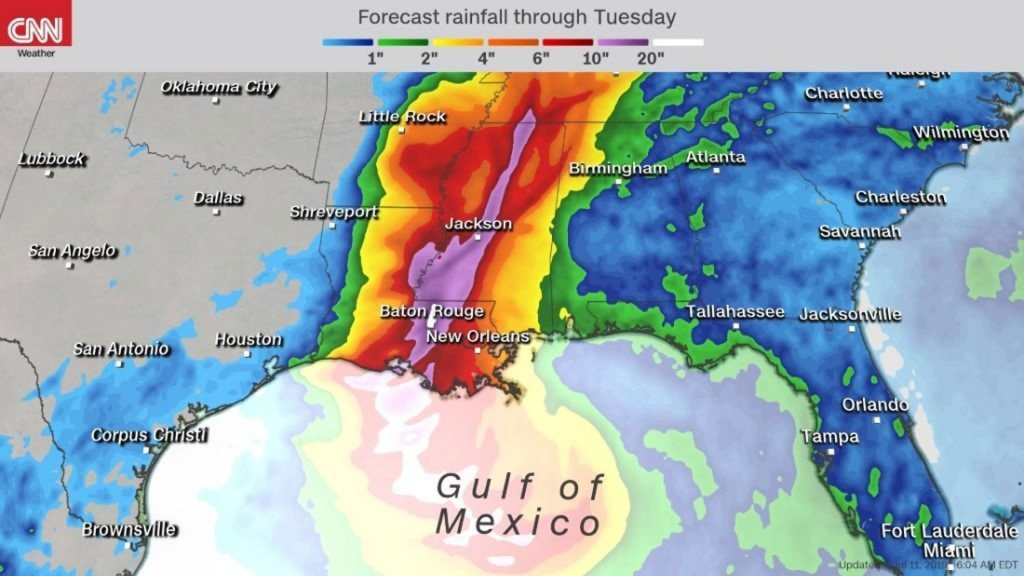 Louisiana residents evacuate as Tropical Storm Barry develops in the Gulf, threatening more epic