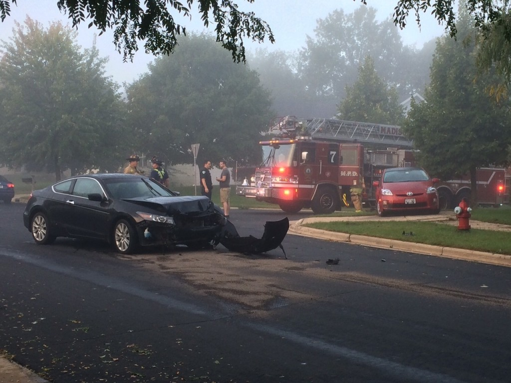 One person pinned following two-car accident
