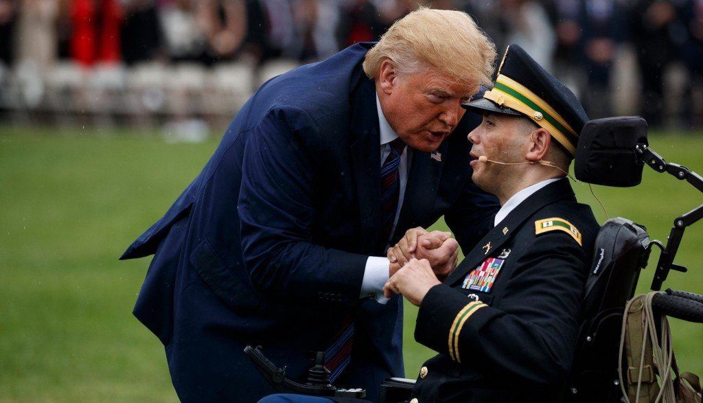 Trump moved by wounded veteran's performance