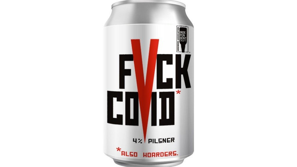 can of beer that says fvck covid