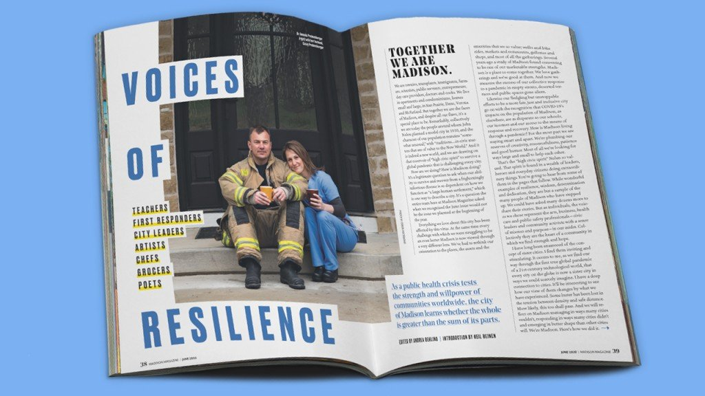 Voices of Resilience spread in the magazine