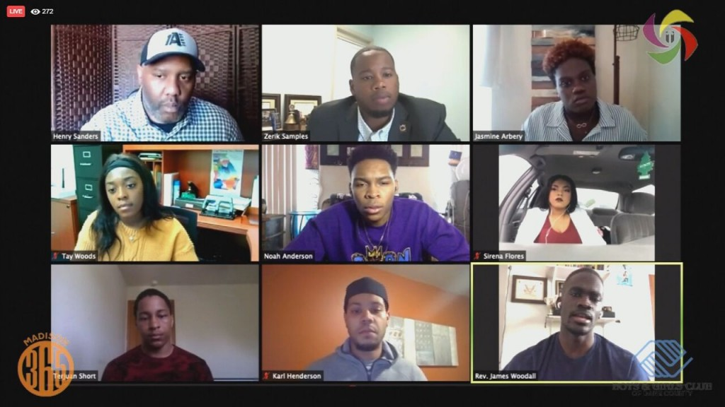 Teens speak during a Boys And Girls Club virtual town hall on social injustice
