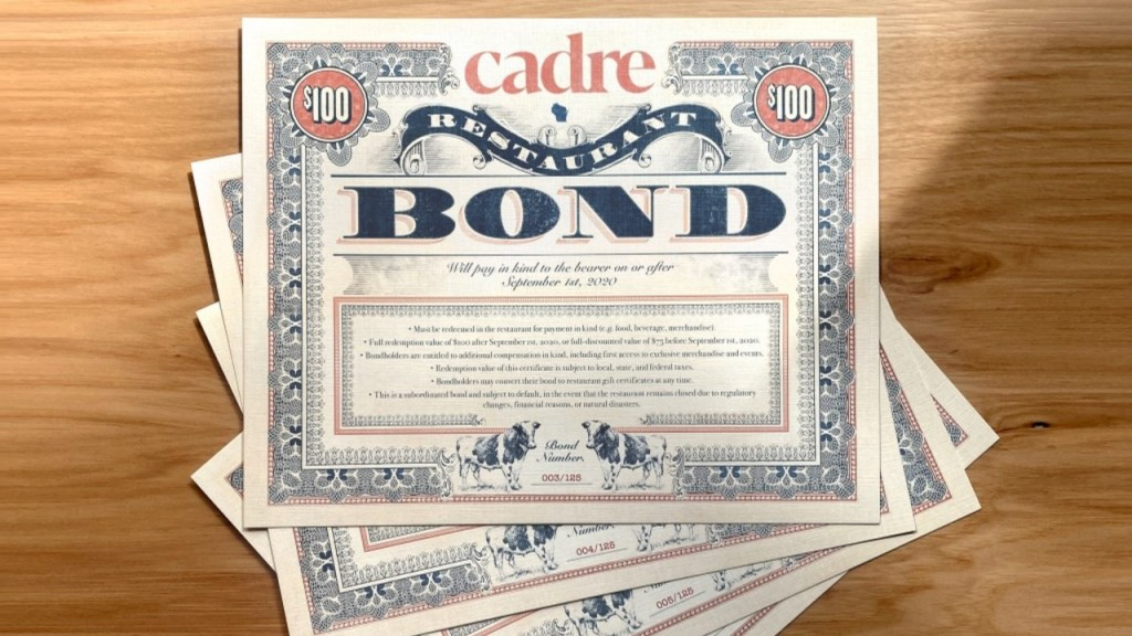 A stack of bonds from a local restaurant