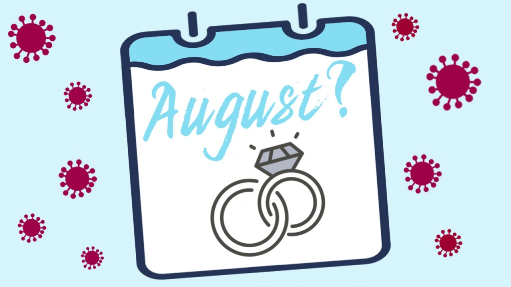 little coronavirus symbols around an August calendar month