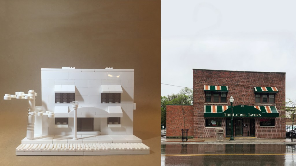 On the left, a Lego version of the building pictured on the right