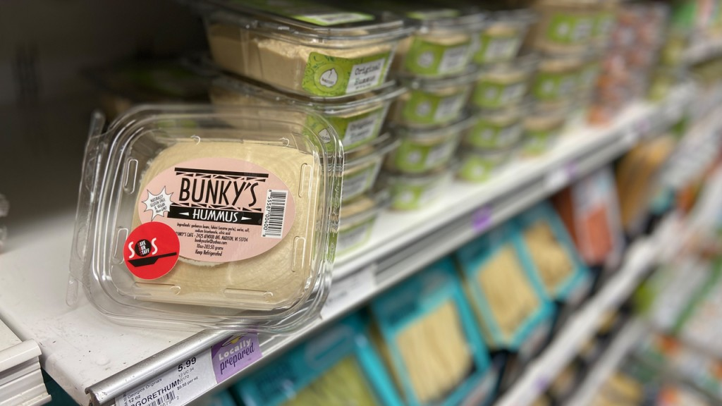 Bunky's hummus on the shelf at Willy Street Co-op