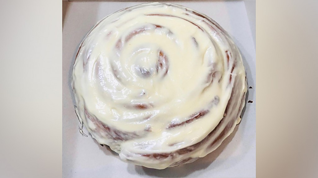 A picture of a giant cinnamon roll