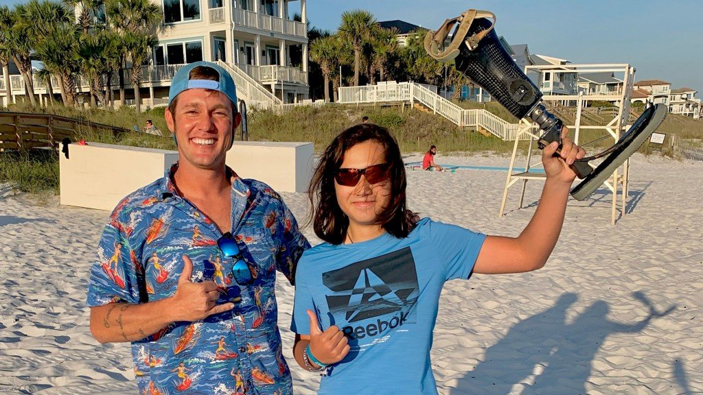 He lost his prosthetic leg while he was surfing. Weeks later a 13-year-old found it