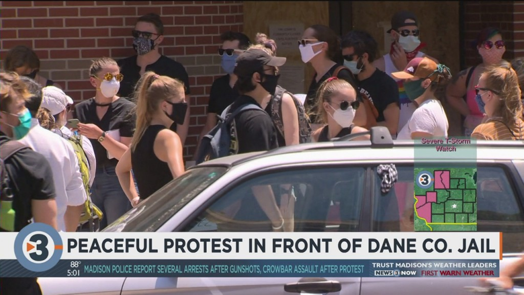 Peaceful Protesters Gather In Front Of Dane County Jail