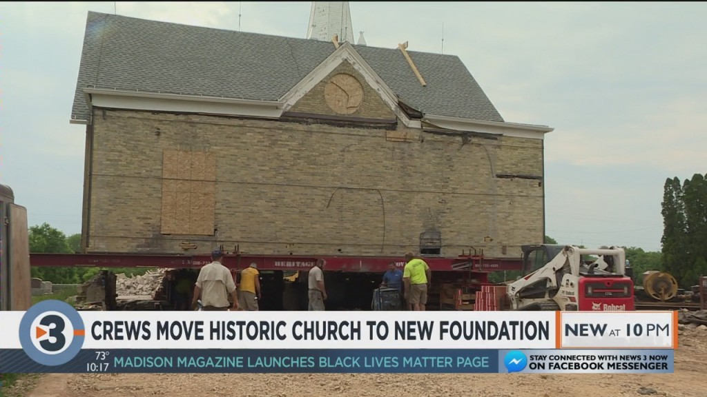 Crews Move Historic Church To New Foundation
