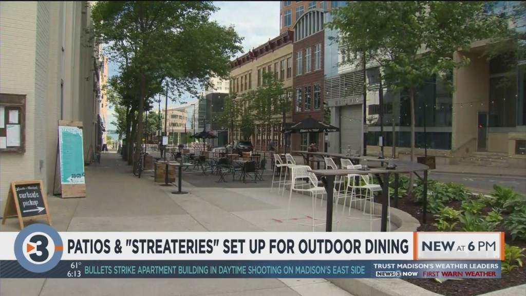 Patios And 'streateries' Set Up For Outdoor Dining