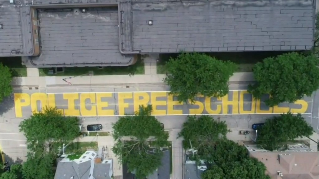 A Drone Shot Of The Police Free Schools Painting