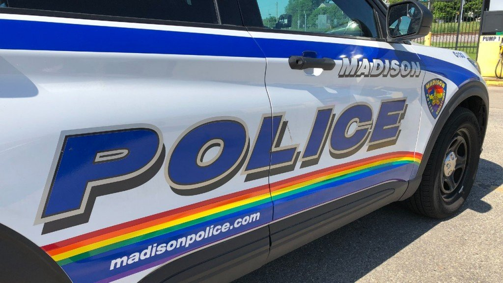 A Pride Flag On A Madison Police Vehicle