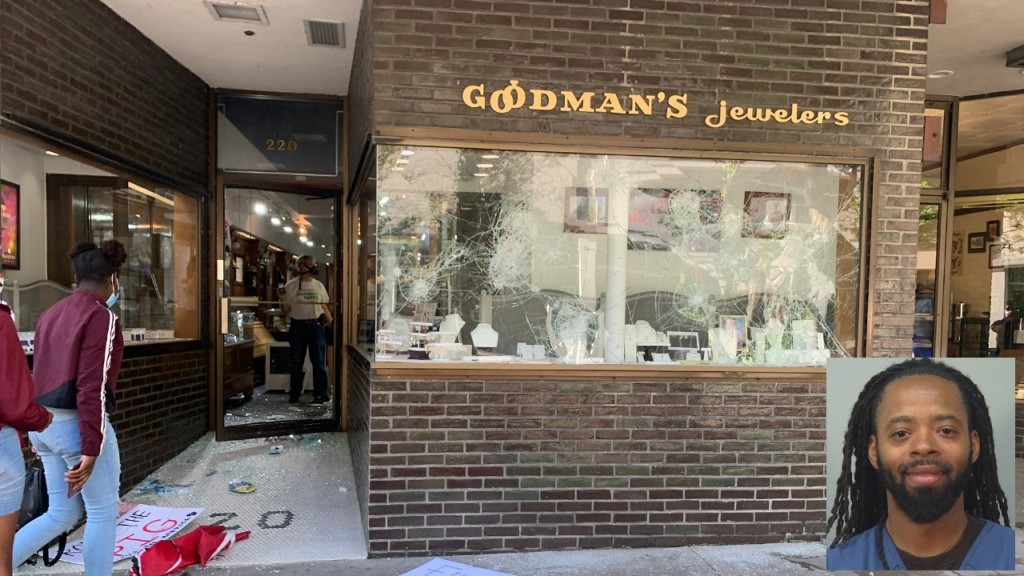 A view of damage to Goodmans Jewelers on State Street