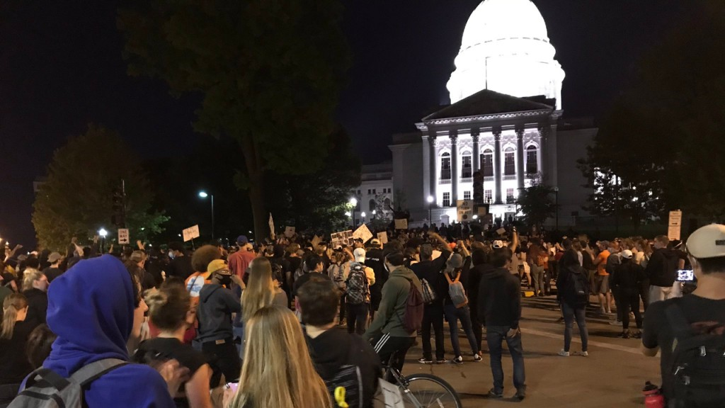 A protest at the Wisconsin State Capitol Monday night