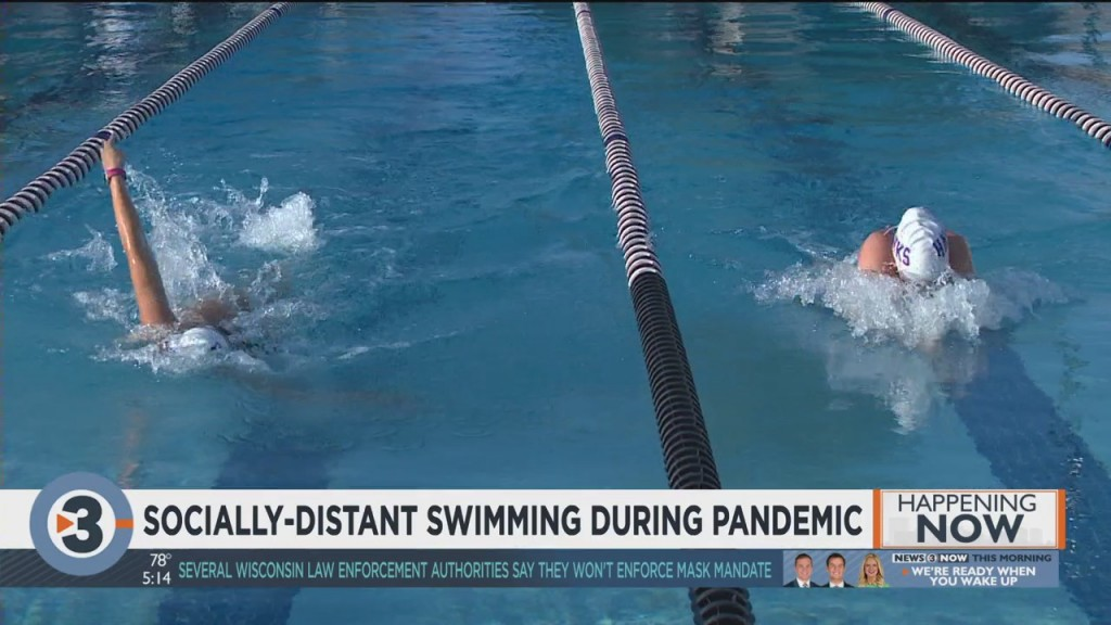 Athletes Adapt To Socially Distant Swimming During Pandemic