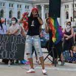 speakers at pride for black lives march event