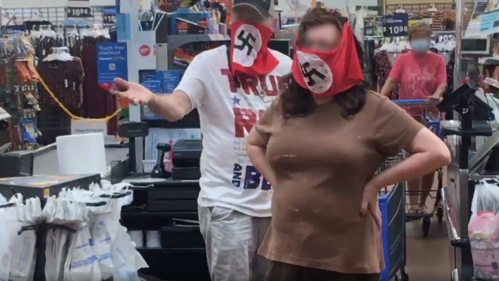 Couple Seen On Video At Walmart Wearing Face Coverings With Swastikas 1280