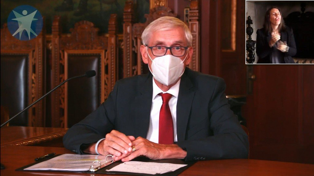 Gov. Tony Evers wearing a mask