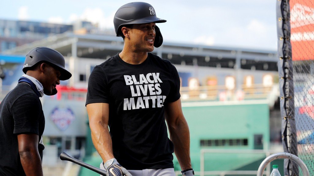 Giancarlo Stanton #27 Of The New York Yankees Wearing A Black Lives Matter T Shirt