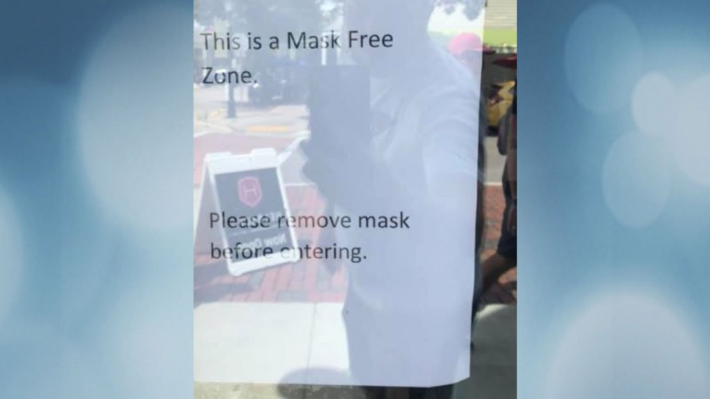 Mask Free Zone sign at Helbach's Coffee
