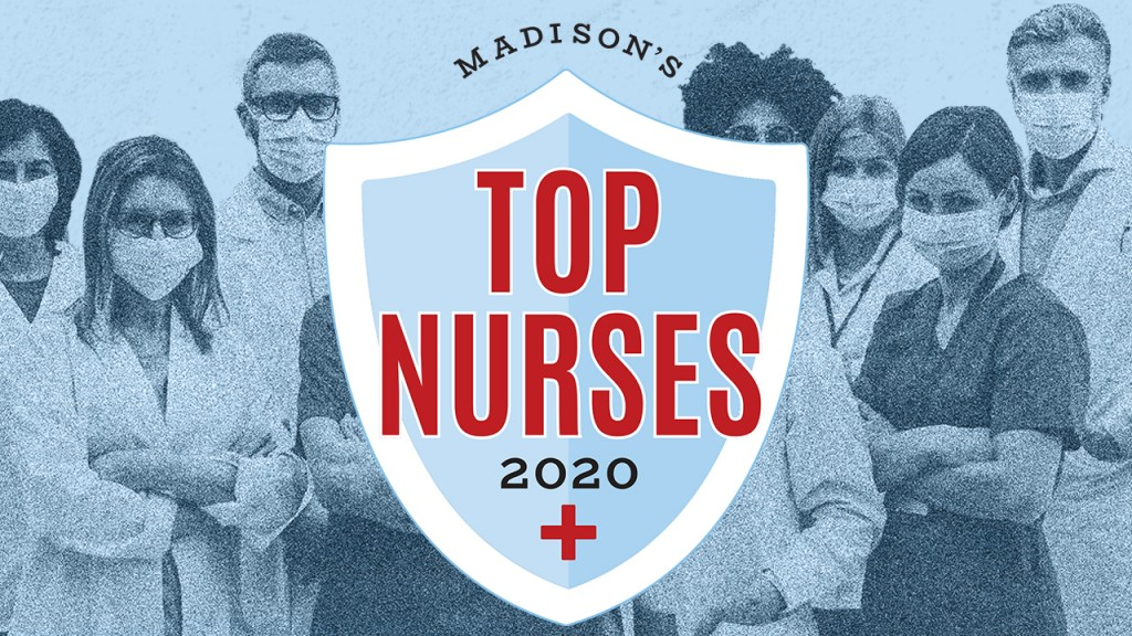 Top Nurses 2020 logo with images of nurses in the background