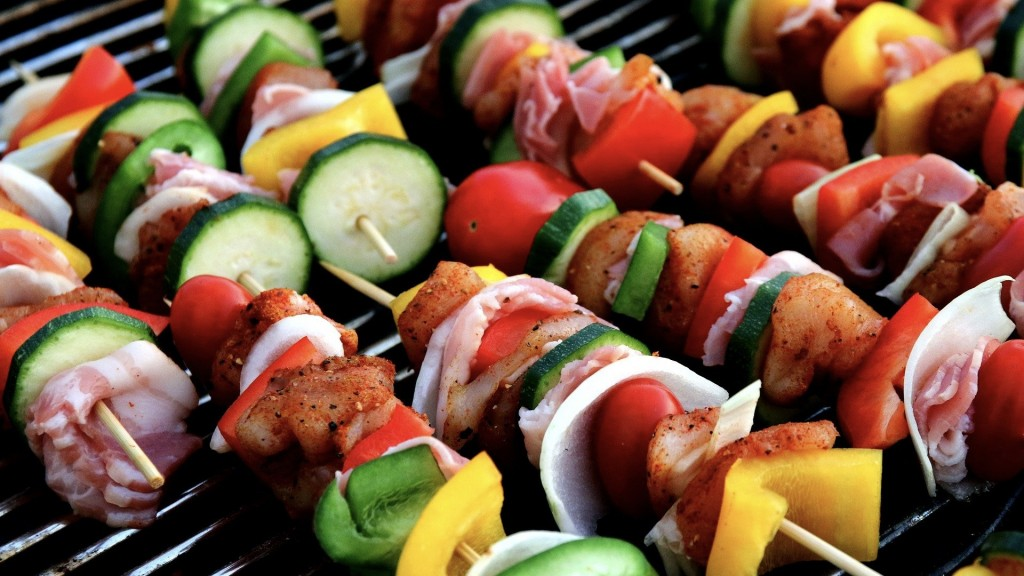 Meat and vegetable skewers on the grill