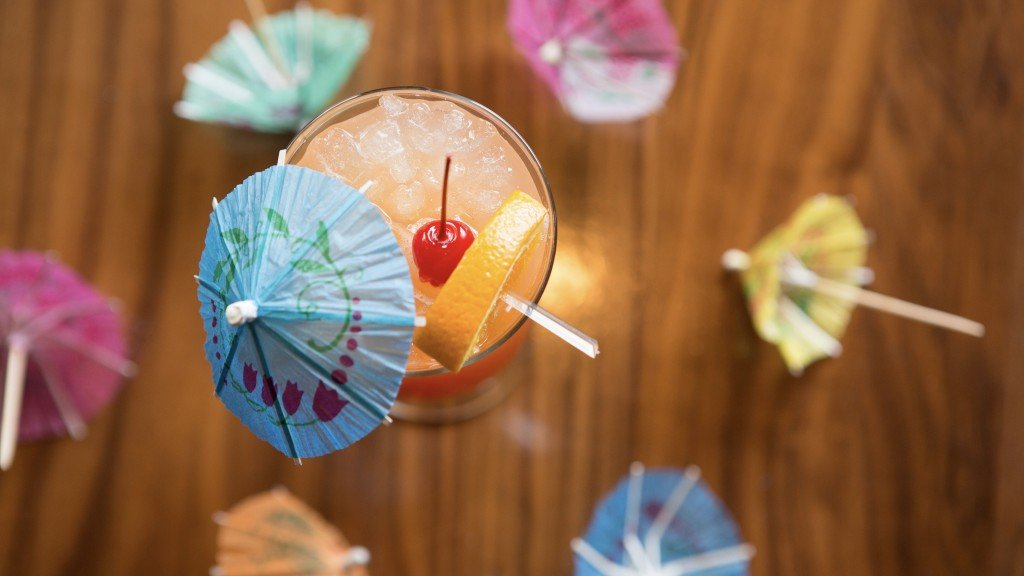 Tiki drinks at the Avenue Club, umbrella and all.