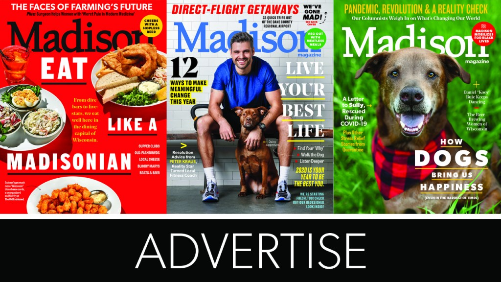 three covers of the magazine with the words advertise