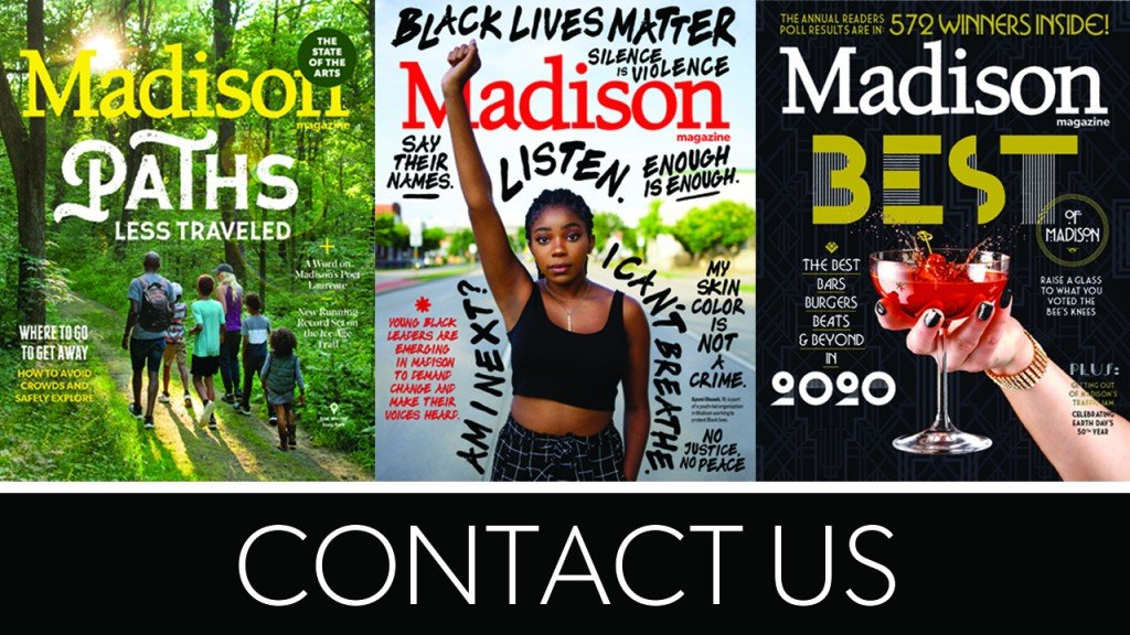 """three magazine covers and title """"Contact Us"""""""