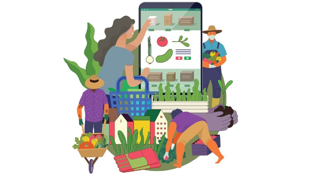 illustration of farmers farming the land with an app in the background