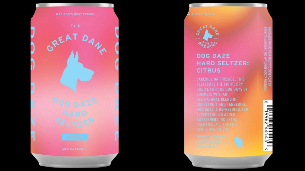 Front and back of the can designs of the Dog Daze seltzer